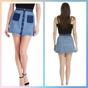 Juicy Couture Studded Flare Denim Skirt NWT